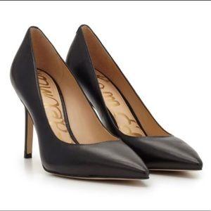 Sam Edleman Black Leather Pointed Toe Heels Pumps